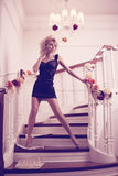 Splendid woman on staircase. Splendid young woman on staircase Stock Images