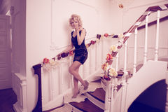 Splendid woman on staircase Stock Image