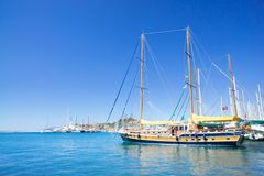 Splendid yachts at coast Aegean sea. Royalty Free Stock Photography