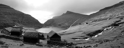 Faroe island Saksun BW Royalty Free Stock Photography