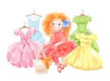 Splendor dziewczyna i set świąteczne suknie royalty ilustracja