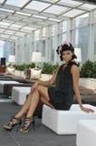Splendor mody model w czerni sukni Obraz Stock