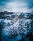 The splendor of the villages of the Atlas mountains in the winter Stock Photo