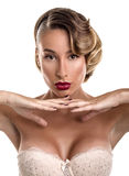 Splendoru portret seksowna dziewczyna w koronkowej bieliźnie Obraz Royalty Free