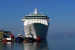 Splendour of the seas. Anchored at the Kusadasi Seaport in the Turkey. 12 November 2013 royalty free stock image