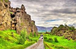 Spleten van de medio-Atlantische Rand in het Nationale Park van Thingvellir, IJsland royalty-vrije stock fotografie