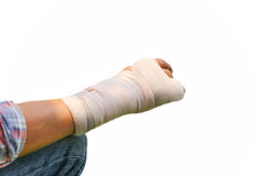 Splint broken bone  hand Injured Stock Photos