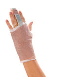 splint on the middle finger Stock Photography