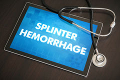 Splinter hemorrhage (cutaneous disease) diagnosis medical concep. T on tablet screen with stethoscope Royalty Free Stock Photography
