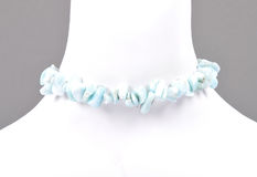Splintered larimar chain on bust Royalty Free Stock Photography