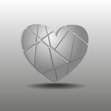 Splinters of gray heart Royalty Free Stock Photography
