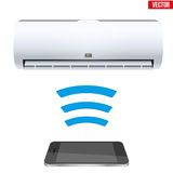 Split air conditioner house system. Illustration of Wireless Controlling air conditioner with smartphone. IOT Concept and remote home appliance. Editable Vector Royalty Free Stock Photo