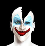 Split Apart Clown. Sinister looking looking clown whose head has split apart Stock Images