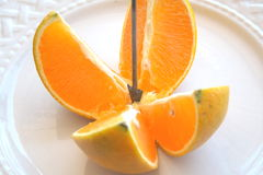 Split-apart orange Stock Photography