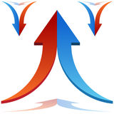 Split Arrows Joining. An image of 3d split arrows merging together vector illustration