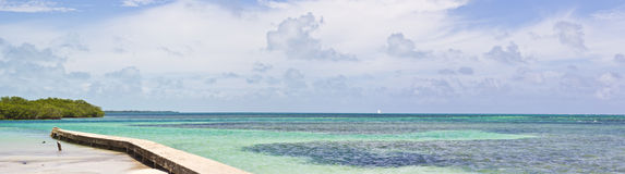 The Split, Belize. Panorama of The Split region, on Caye Caulker, Belize Stock Photos