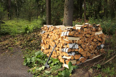 Split birch firewood stacked Royalty Free Stock Photos