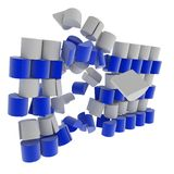 Split Block Wall Break. Breaking blue and white block wall, isolated Stock Photo