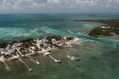 The split on Caye Caulker. Formed by a hurrican Royalty Free Stock Image
