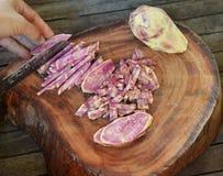 Split chopped yam purple Royalty Free Stock Photo