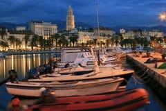 Split city by night Stock Photos