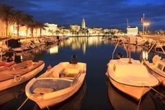 Split city by night Stock Photo
