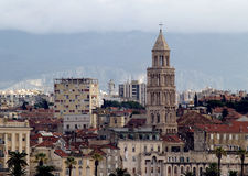 Split city skyline. Skyline of Split city with Cathedral of St. Duje in foreground, Croatia Royalty Free Stock Photos