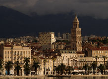 Split city skyline. Skyline of Split city waterfront with Cathedral of St. Duje; dark mountains in background; Croatia Royalty Free Stock Image