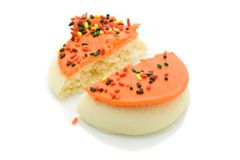 Split Cookie. A macro shot of a split cookie over a white background Royalty Free Stock Photos