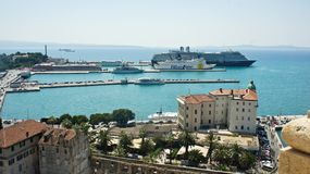 Split, Croatia - 07 22 2015 - Aerial view of the city from the bell tower, port with boats, beautiful cityscape, sunny day stock photos