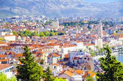 Split Croatia. Amazing panoramic top view of the historic city of white stone Split in Croatia Royalty Free Stock Image