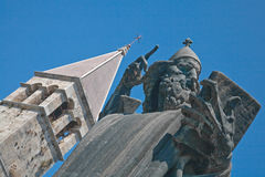 Split, Croatia. Ancient statue and church tower in Split Croatia Royalty Free Stock Images