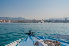 Sailing towards Split at dawn. royalty free stock images