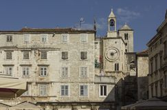 Architectural view of ancient buildings in Narodni square in Split royalty free stock photos
