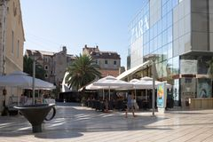 Split cityscape with a modern building. Split is a city in Croatia. It lies on the eastern shore of the Adriatic Sea royalty free stock photo