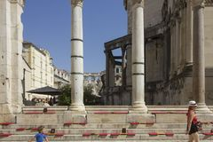 Perystile of Diocletian Palace in Split, with two person. SPLIT, CROATIA - AUGUST 11 2017: Perystile of Diocletian Palace in Split, with two person Stock Images
