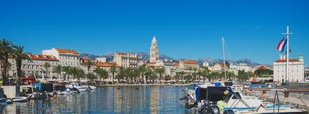 Split in Croatia. Boat harbor of the old town Split in Croatia stock photography