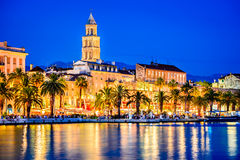 Split, Croatia. Colorful waterfront evening view, Dalmatia Stock Image