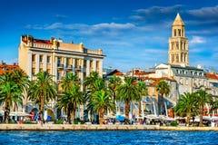 Split, Croatia - Diocletian Palace. Split, Croatia. Split, Croatia (region of Dalmatia). UNESCO World Heritage Site. Diocletian Palace and Mosor mountains in Stock Image