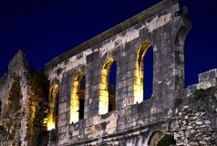 Split, Croatia - 12 29 2018: Diocletian`s palace ruins. royalty free illustration