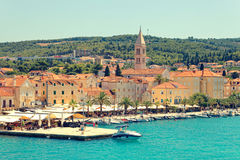 SPLIT, CROATIA - JULY 12, 2017: Harbor of Supetar city from the side of sea Royalty Free Stock Photos