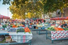 SPLIT, CROATIA - JULY 11, 2017: Open air food market located in historical place of Split city - Dolmatia, Croatia. SPLIT, CROATIA - JULY 11, 2017: Open air food stock photography