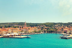 SPLIT, CROATIA - JULY 12, 2017: Panoramic view on harbor of Supetar city from the side of sea - Croatia Stock Image