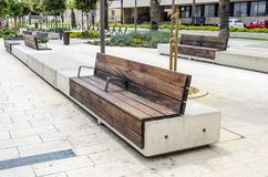 White bench in the center of Split, Croatia. royalty free stock photography