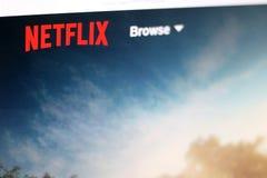 Netflix. Split, Croatia - March 17, 2018: Netflix logo on a screen. Netflix is popular streaming service royalty free stock image
