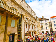 Split, Croatia - May 08, 2014: Tourists walk in the Old City on a cloudy summer day Royalty Free Stock Image
