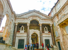 Split, Croatia - May 08, 2014: Tourists walk in the Old City on a cloudy summer day Royalty Free Stock Photo