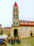 Split, Croatia - May 08, 2014: Tourists walk in the Old City on a cloudy summer day Royalty Free Stock Photography