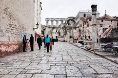 Split`s Old Town, SPLIT, CROATIA. SPLIT, CROATIA - NOVEMBER 5, 2014 : Split`s Old Town royalty free stock photography