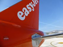 Split, Croatia - 20 October 2018. The tail of an EasyJet Airbus A320, taken at Split airport, with blue skies behind stock images